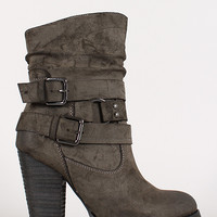 Slanted Collar Double Buckle Chunky Heel Bootie