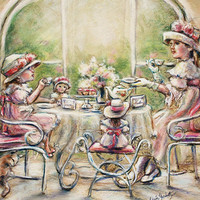 Tea party, girls, TEATIME with BIG SISTER, art print, sisters, tea. 8x10  Laurie Shanholtzer