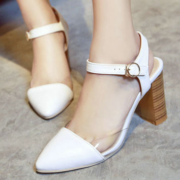 Wood Heel High Heel Sandal Shoes Pointed toe Buckle Strap Platform Sandals Summer Shoes Woman Black White