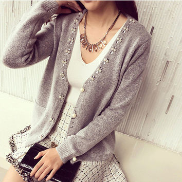 Beaded Long-Sleeve V-Neck Knitted Button Cardigan