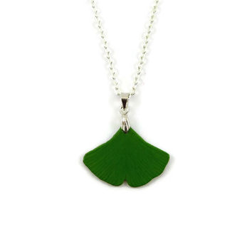 Green ginkgo leaf necklace, eco-friendly nature necklace, woodland necklace, rustic necklace, painted plastic fancy necklace (recycled CD)