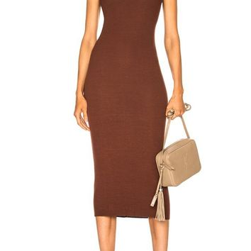 Classic Modal Midi Dress- CHOCOLATE