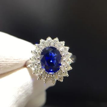 1.990ct+0.828ct 18K Gold Natural Sapphire Women Ring with Diamond Setting 2016 New Fine Jewelry Wedding Band Engagement