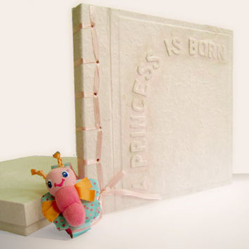 """Embossed """"A Princess is born"""" Pastel Pink Mulberry Paper Album scrapbook guestbook"""