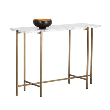 SOLAN BRUSHED ANTIQUE BRASS STEEL BASE CARRARA MARBLE TOP CONSOLE TABLE