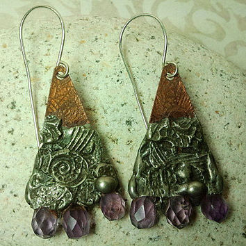 Earrings - Amethyst & Etched Copper - Timeless Relics Collection one-of-a-kind