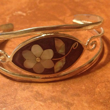 Vintage Alpaca Silver Cuff Mother of Pearl Flower Mexico Bracelet Mexican Jewelry