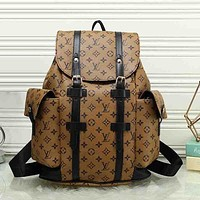 LV Louis Vuitton Fashion Women Print Leather Bookbag Shoulder Bag Handbag Backpack Yellow I
