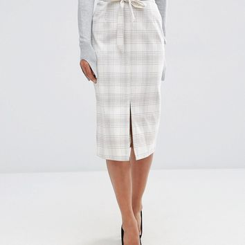 ASOS Tailored Pencil Skirt in Graphic Check at asos.com