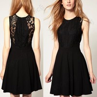 Sleeveless Black Lace Chiffon Pleated Cocktail Party Club Mini Dress S/M/L