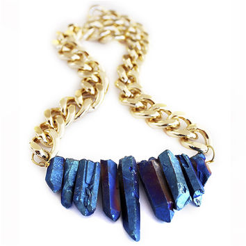 Rocked Up Necklace (Sapphire Blue)