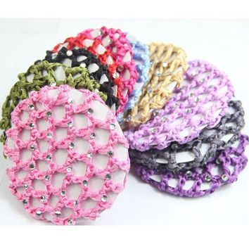 CREYONJ 10pcs/lot New Style Plain Colour Rhinestone Crochet Hair Snood Bun Cover Hairnet Ballet Dance Skating Mesh Bun Cover For Women