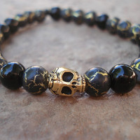 Mens Skull Bracelet,Black Obsidian Semiprecious Stone,Black with Gold Glass Bead Bracelet, For Him, Under 20, Handmade Jewelry