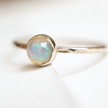 Opal Ring, 14k Opal Ring, Rose cut ring, Birthstone Jewelry, Stacking Ring, Engagement Ring, gift for her, bridal party gift, push present