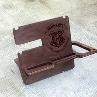 Harry Potter Docking Station Personalized Docking Stand Iphone docking Wooden Stand Gift for Him for men for dad