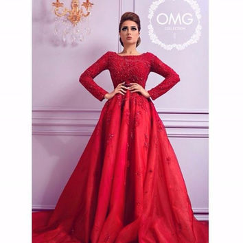New Arrival Arabic Style Formal Evening Dress Red Evening Dress Long Sleeve Floor Length Beaded Top Formal Gowns Robe De Soiree