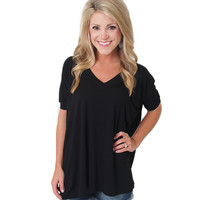 Short Sleeve V-Neck Piko Top - Material Girls