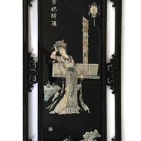 Asian Black Lacquer Wall Art Mother of Pearl Geisha
