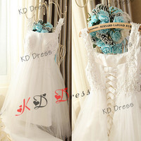 Free Shipping !!!Beaded Straps Ivory Tulle Lace Up Bridesmaid Dress Flower Girl dress Prom Wedding Dress Birthday Party Dress(Z1017)