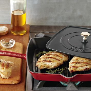 Staub Cast-Iron Grill Pan & Press, 12""