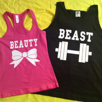 Free Shipping for US Beauty And The Beast Matching Couples Tank Tops/Shirts: Black&pink Different Version