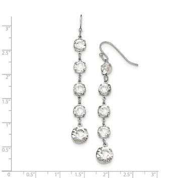 Silver-tone White Swarovski Elements Dangle Earrings