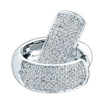 14kt White Gold Womens Round Pave-set Diamond Huggie Hoop Earrings 1/2 Cttw
