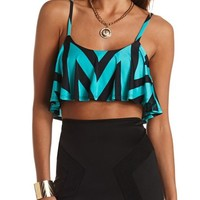FLOUNCE CHEVRON CROP TOP