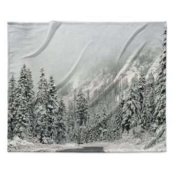 "Robin Dickinson ""Winter Wonderland"" White Gray Fleece Throw Blanket"