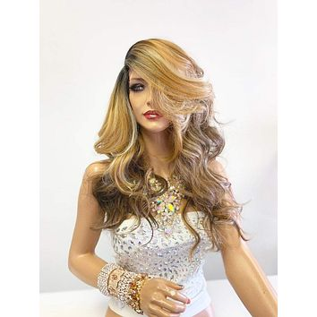 """Balayage Ombré Honey Brown Blonde SWISS Lace Front Wig 22"""""""