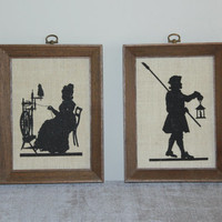 KayDee wood framed linen silhouette wall hangings, wall decor