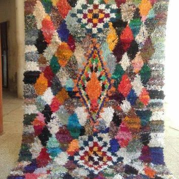 COLORESQUE Vintage Moroccan Boucherouite Rug, Antique Berber Rug, Handmade Rag Rug, Tapis Boucharouette, Recycled Fabric Rug, Teppich Berber
