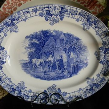 Spode Copeland Byron Pastoral Blue Transferware Platter Child Dog The Cow Doctor