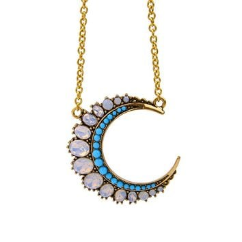 Streetstyle  Casual Opal Stone Moon Pendant Necklace