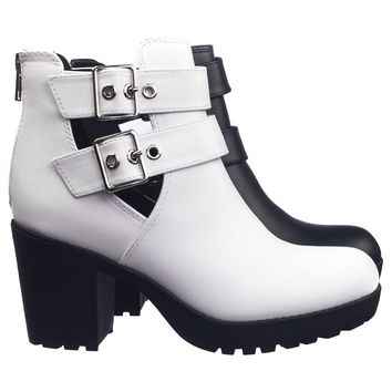 Recent Open Buckle Side Slit Cutout Threaded Lug Sole Ankle Combat Bootie