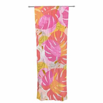 "Mmartabc ""Monstera With Tropical Banana"" Pink Yellow Illustration Decorative Sheer Curtain"