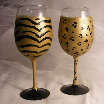 painted gold leopard and zebra or tiger wine glasses - perfect for bridesmaid or bridal shower or birthday