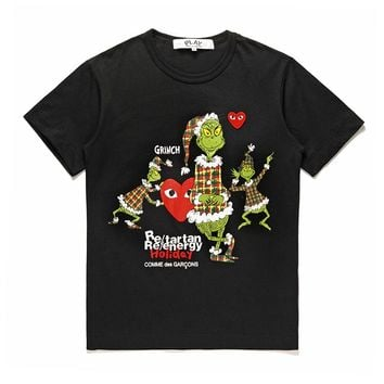 Best Deal Online Men's CDG PLAY COMME DES GARCONS Play Fashion Black Re-tartan Re-energy Holiday Black T-Shirt DSM limited edition