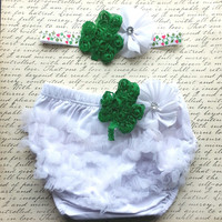 St. Patrick's Bloomer Set, St. Patricks Baby Outfit, DIaper Cover Set,  Headband Set, Green and White Bloomer, Bloomer Set, Photo Prop