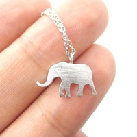 Classic Elephant Shaped Silhouette Pendant Necklace in Silver   Animal Jewelry