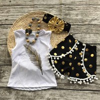 Black and Gold Pom-Pom Short Set