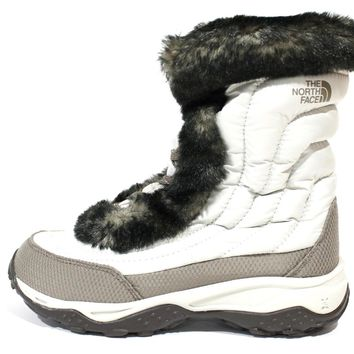 The North Face Girl's Nuptse Faux Fur II Shinny Ivory White Boot APJYFG9