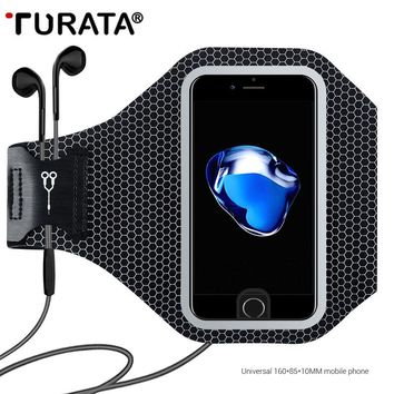 Turata 5.5'' Sport Running Waterproof Arm Band For iPhone 5 SE 6 6S 7 8 plus X Reflective Mobile Phone Holder Pouch Wallet Case