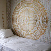 Arnell Mandala Bohemian Boho Brown Gold Ombre Wall Beach Bed Tapestry