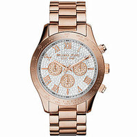 Michael Kors Layton Rosegold Chronograph Glitz Watch - Rose Gold