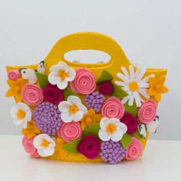 Spring flowers explosion purse handbag / easter basket in lemon yellow for little (and big) girls. Available now, ready to ship
