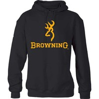 Browning Men's Gold Buckmark and Browning Hoodie Sweatshirt
