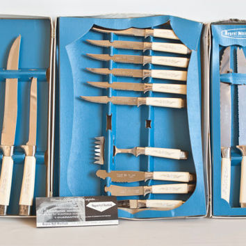 Vintage Regent Sheffield Desert Flower Treasure Chest Knife Set, New in Box Cutlery Set, Made in England