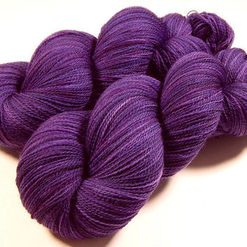 Hand Dyed Yarn - Lace Weight Superwash Merino Wool Yarn - Blackberry Tonal - Knitting Yarn, Lace Yarn, Wool Yarn, Purple Violet