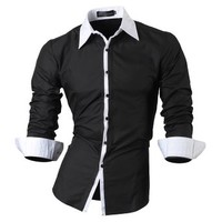 jeansian Men's Slim Fit Long Sleeves Casual Shirts 1073